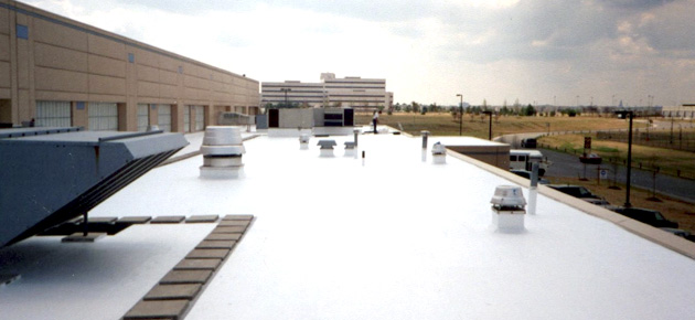 San Diego Commercial PVC Roofing System Energy Efficiency. White PVC Roofing  ...
